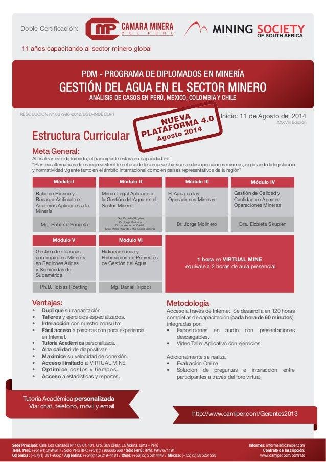 PDM - PROGRAMA DE DIPLOMADOS EN MINERÍA  GESTIÓN DEL AGUA EN EL SECTOR MINERO  ANÁLISIS DE CASOS EN PERÚ, MÉXICO, COLOMBIA...