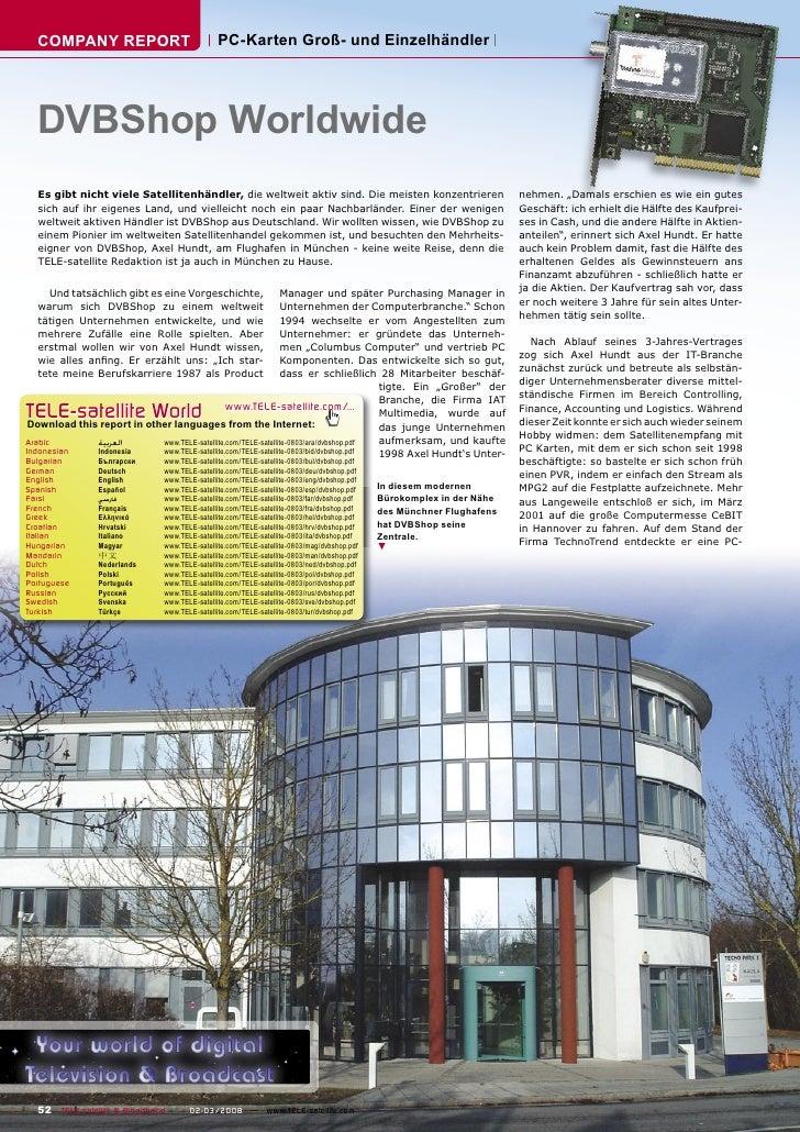 COMPANY REPORT                                PC-Karten Groß- und Einzelhändler       DVBShop Worldwide   Es gibt nicht vi...