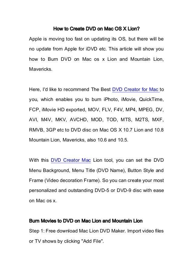 How to Burn DVD on Mac Lion?