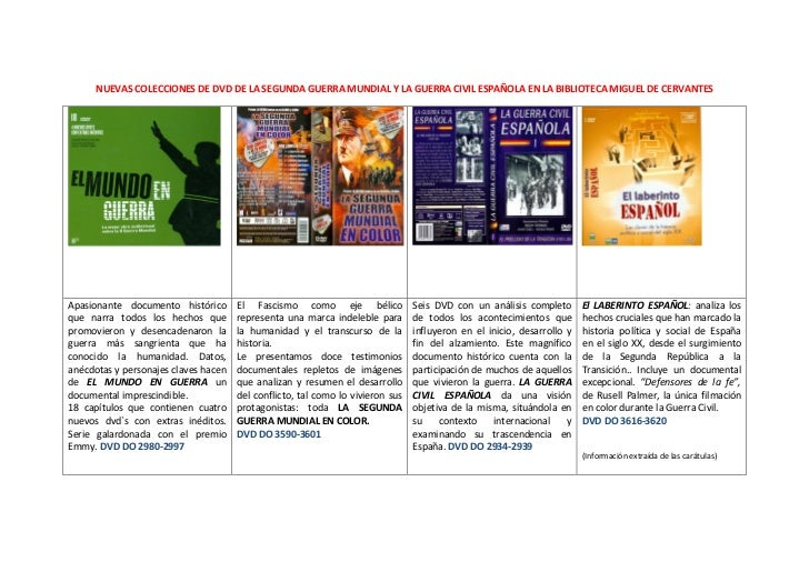 NUEVAS COLECCIONES DE DVD DE LA SEGUNDA GUERRA MUNDIAL Y LA GUERRA CIVIL ESPAÑOLA EN LA BIBLIOTECA MIGUEL DE CERVANTESApas...