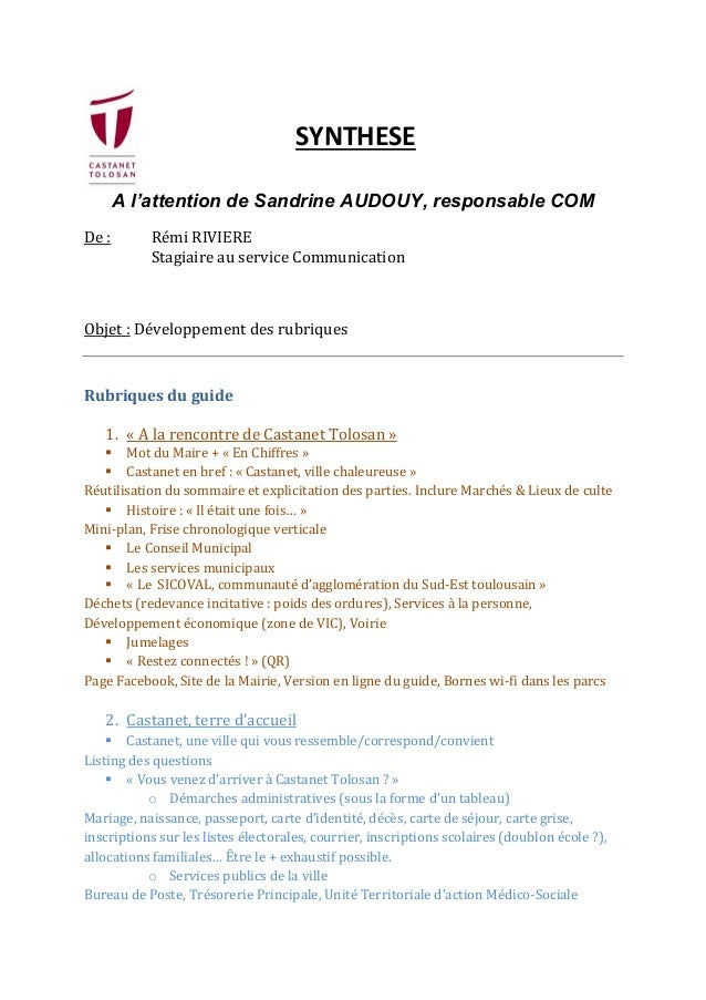 SYNTHESE A l'attention de Sandrine AUDOUY, responsable COM De :  Rémi RIVIERE Stagiaire au service Communication  Objet : ...