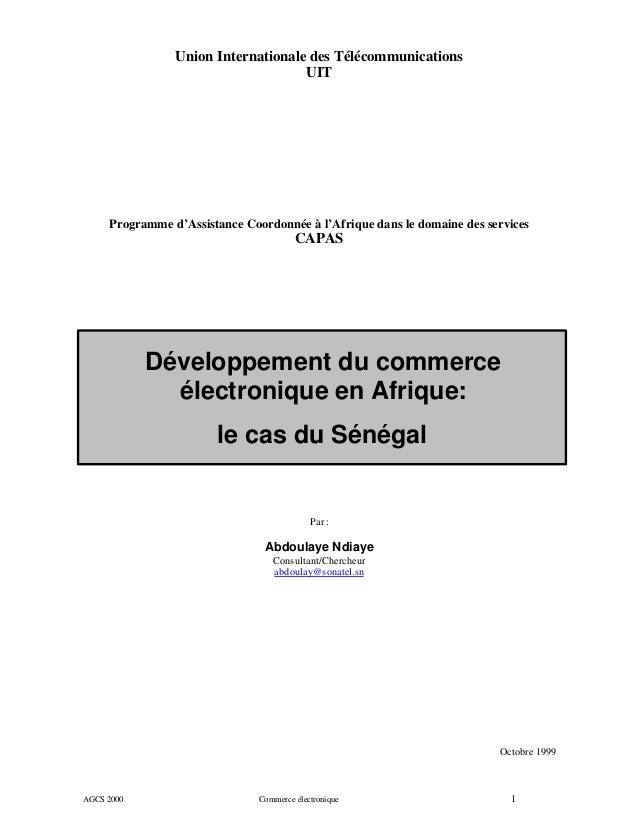 Union Internationale des Télécommunications UIT  Programme d'Assistance Coordonnée à l'Afrique dans le domaine des service...