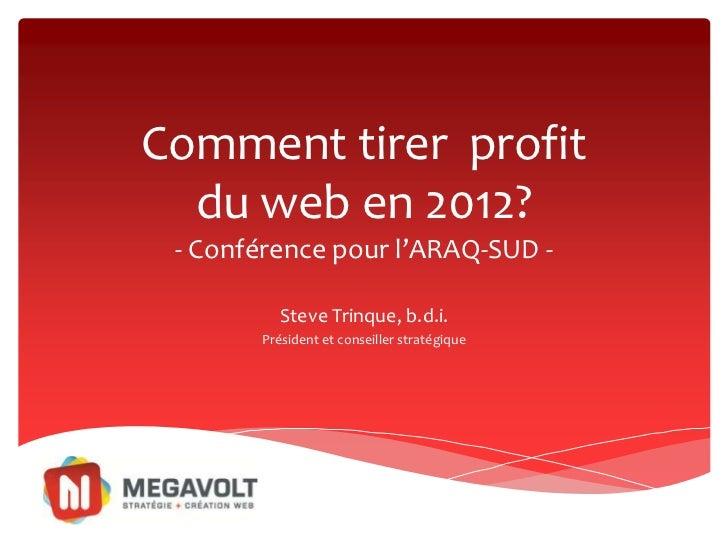 Comment tirer profit  du web en 2012? - Conférence pour l'ARAQ-SUD -          Steve Trinque, b.d.i.       Président et con...