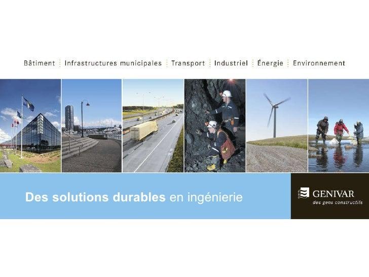 Des solutions durables  en ingénierie Des solutions durables  en ingénierie