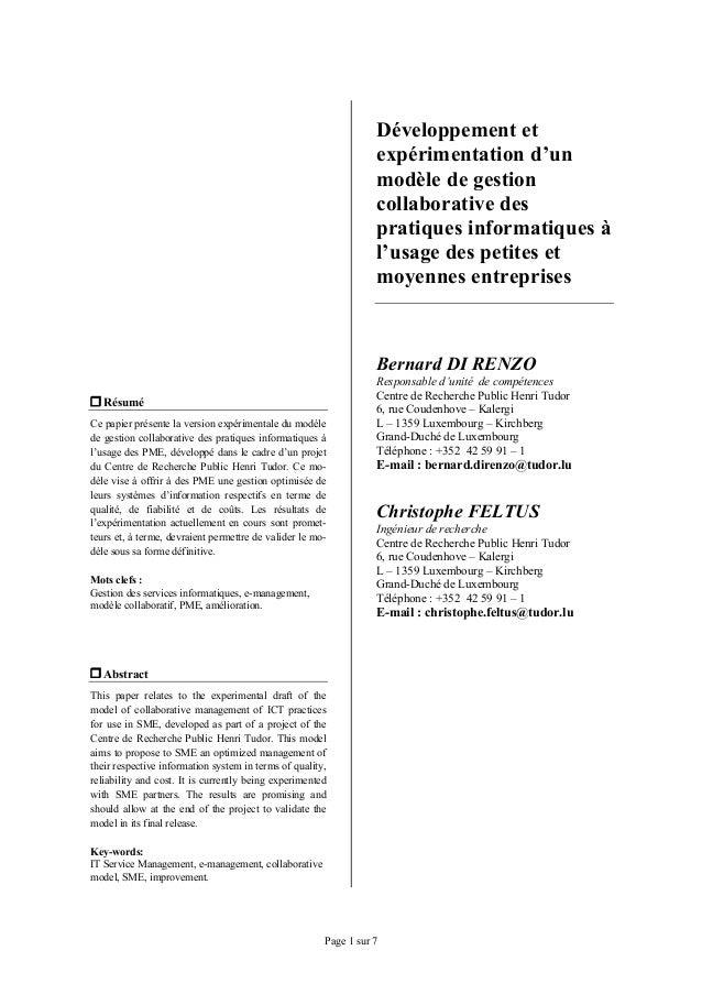 ❒ Résumé Ce papier présente la version expérimentale du modèle de gestion collaborative des pratiques informatiques à l'us...
