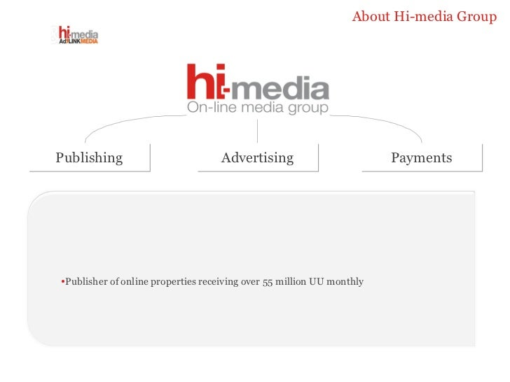 About Hi-media Group Publishing Advertising Payments <ul><li>Publisher of online properties receiving over 55 million UU m...