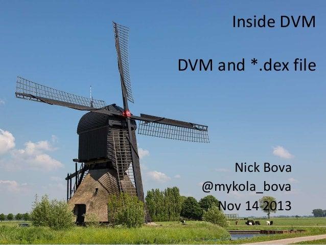 Inside DVM  DVM and *.dex file  Nick Bova @mykola_bova Nov 14 2013
