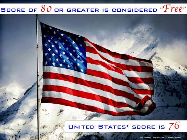 """Score of  80 or greater is considered """"Free""""   United States' score is  76   http://www.flickr.com/photos/19264259@N00/38..."""