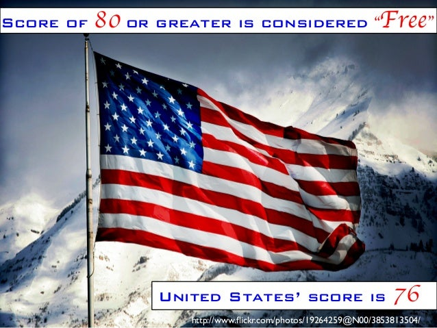 "Score of  80 or greater is considered ""Free""	   United States' score is  76	   http://www.flickr.com/photos/19264259@N00/38..."