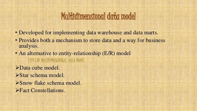 multidimensional data model in data warehouse pdf