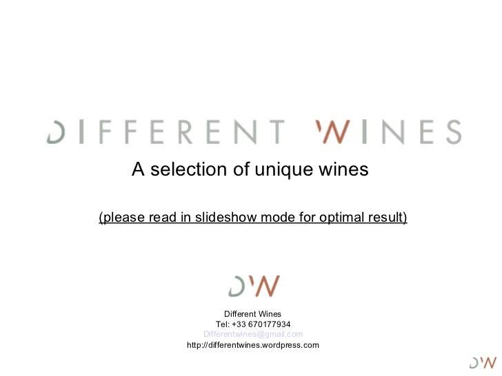 Different Wines portfolio 2011