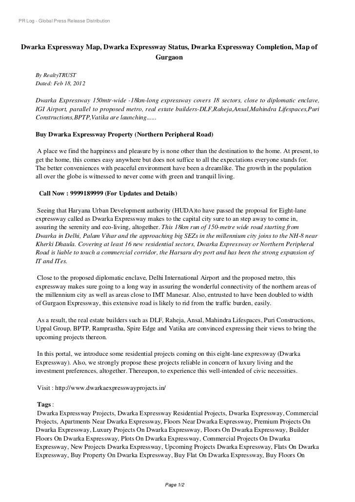 PR Log - Global Press Release Distribution Dwarka Expressway Map, Dwarka Expressway Status, Dwarka Expressway Completion, ...