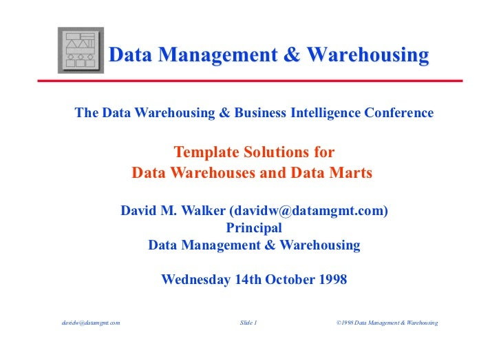 DWBI98 - Template Solutions for Data Warehouses and Data Marts - Presentation