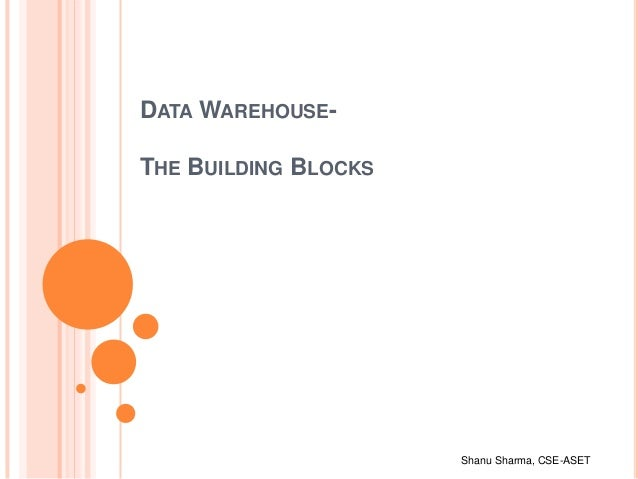 Shanu Sharma, CSE-ASET DATA WAREHOUSE- THE BUILDING BLOCKS