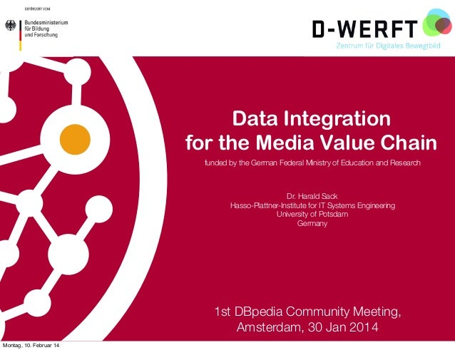 Data Integration for the Media Value Chain funded by the German Federal Ministry of Education and Research  Dr. Harald Sac...