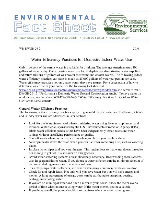 Water Efficiency Practices for Domestic Indoor Water Use - New Hampshire