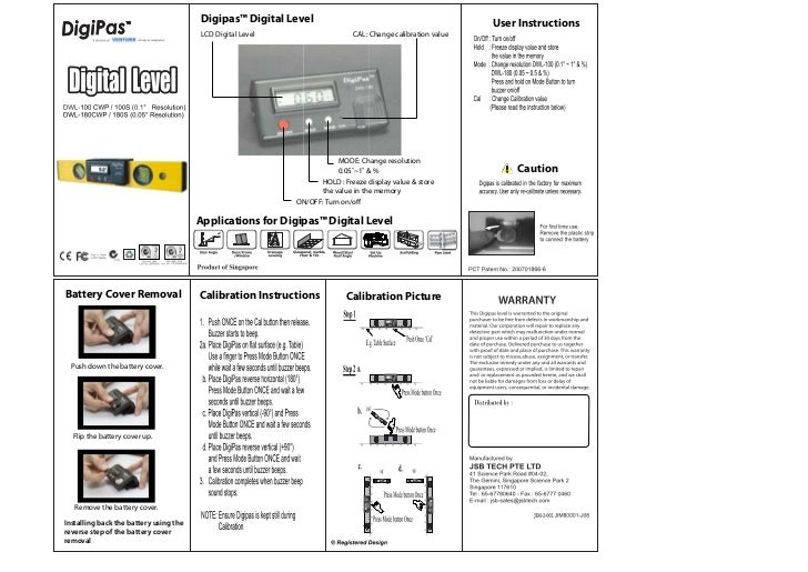Digipas™ Digital Level                                               User Instructions                                    ...