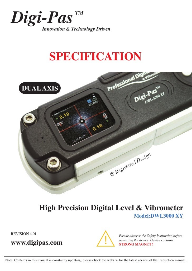 DigiPas Dual Axis Digital Level (DWL3000-xy) -www.DIGIPAS.co.uk