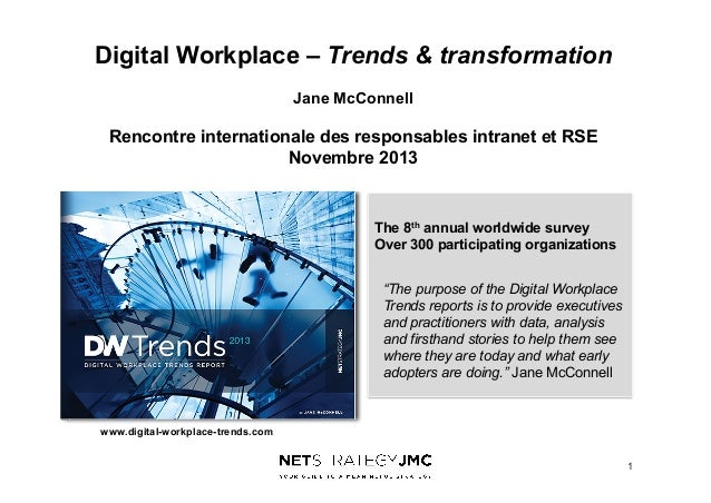 Digital Workplace – Trends & transformation Jane McConnell  Rencontre internationale des responsables intranet et RSE Nove...