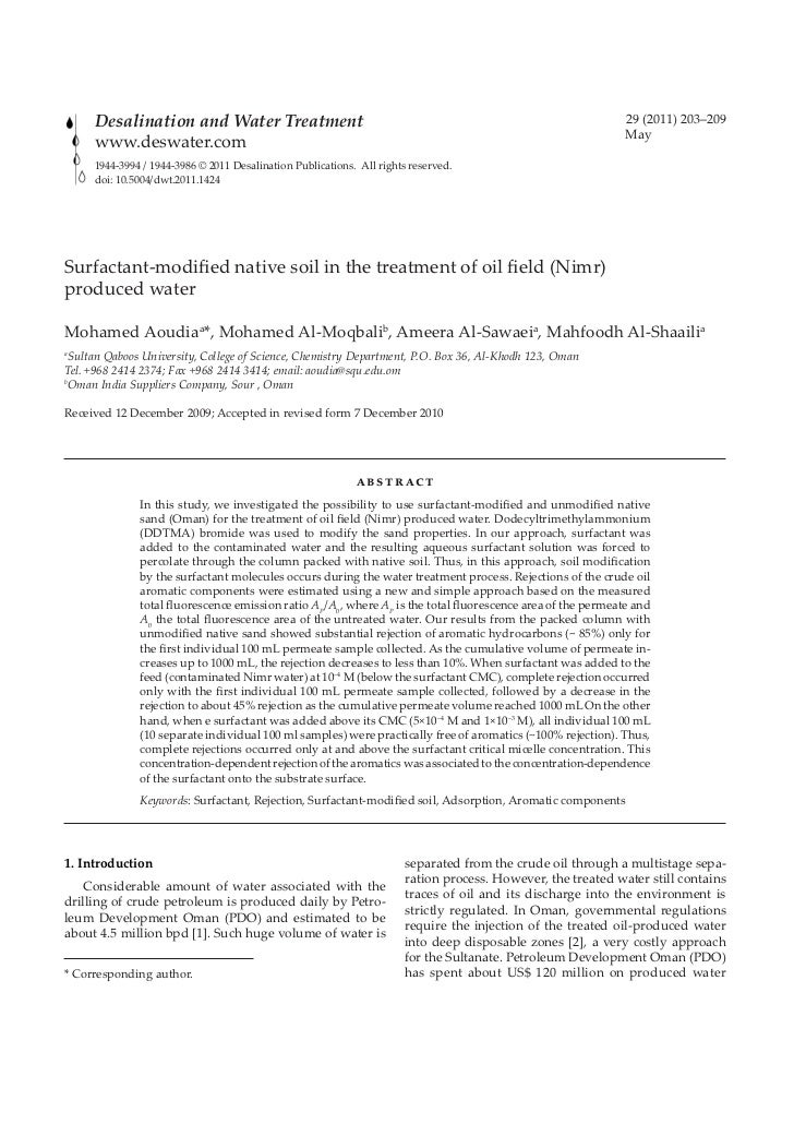 Surfactant-modified native soil in the treatment of oil field (Nimr)   produced water