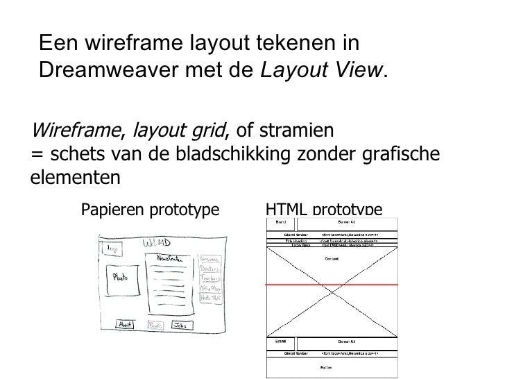 Een wireframe layout tekenen in Dreamweaver met de  Layout View . <ul><ul><li>Wireframe ,  layout grid , of stramien = sch...