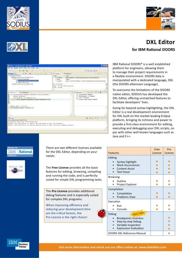 DXL Editor                                                                 for IBM Rational DOORS                         ...