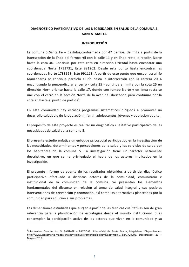 DIAGNOSTICO PARTICIPATIVO DE LAS NECESIDADES EN SALUD DELA COMUNA 5,                               SANTA MARTA            ...