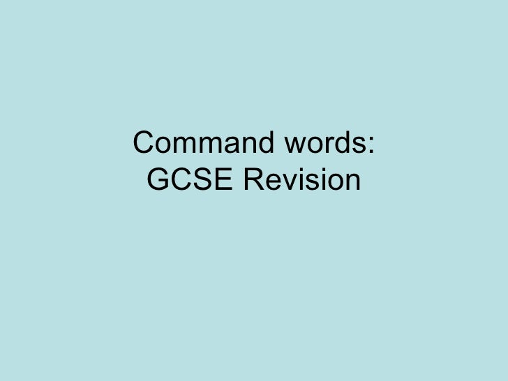Command Words for GCSE Geography