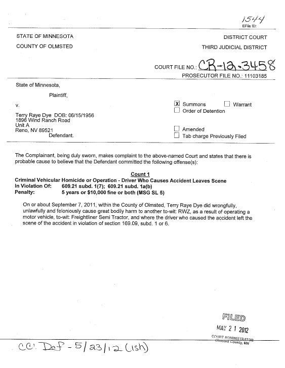 Terry Raye Dye criminal complaint