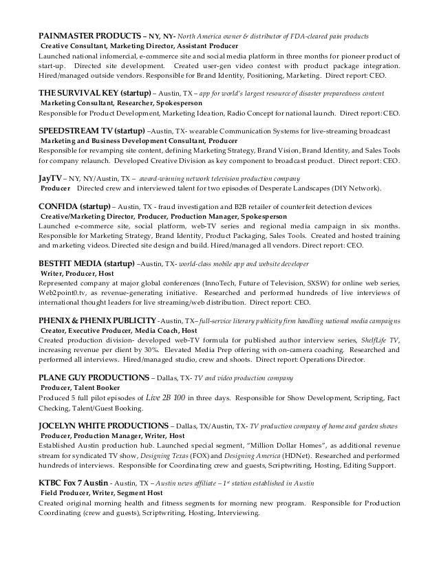 tv producer resume resume samples tv producer blue sky resumes - Web Producer Resume