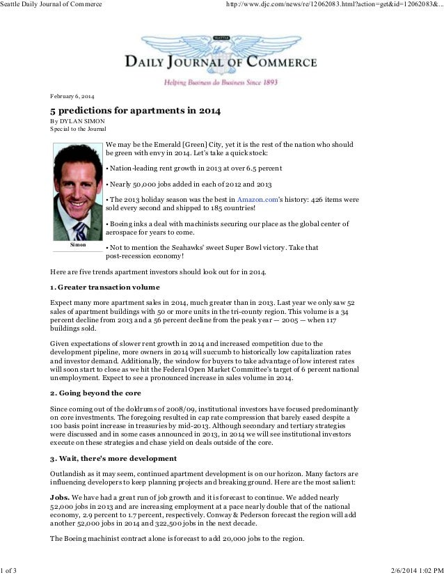 Dylan Simon  -  5 Predictions for Apartment Investment in 2014
