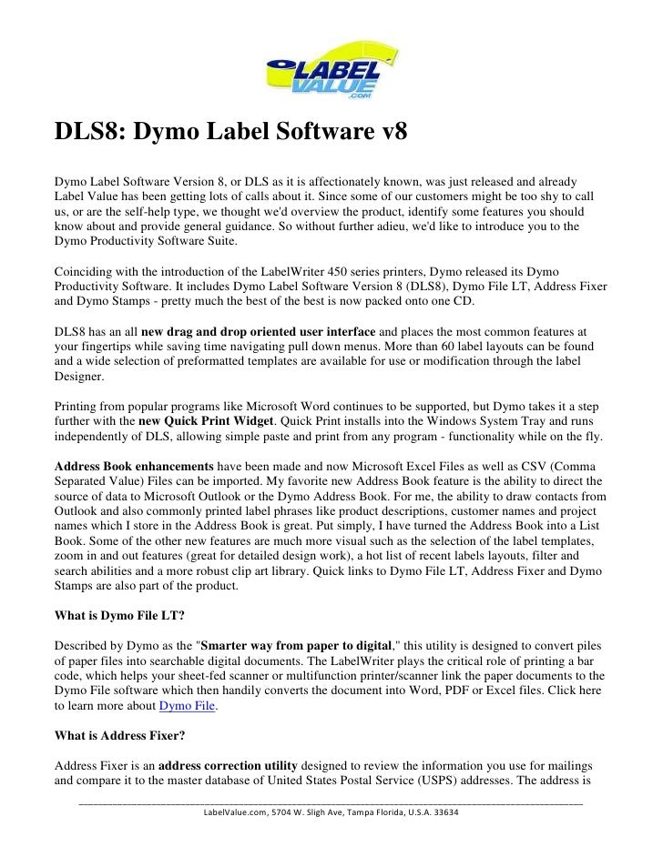 Dymo Label Software DLS 8