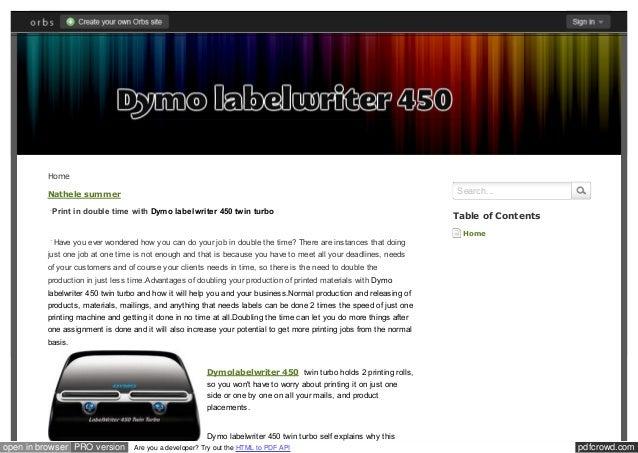 Dymolabelwriter450 orbs com
