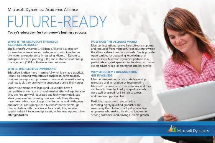 Microsoft Dynamics® Academic AllianceFUTURE-READYToday's education for tomorrow's business success.WHAT IS THE MICROSOFT D...