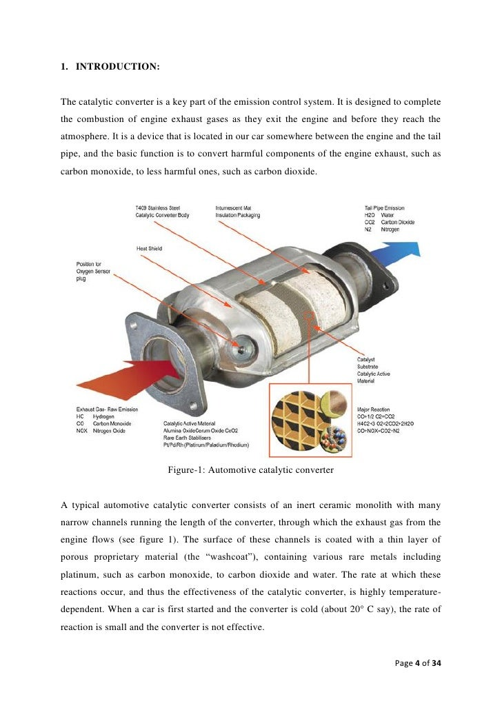 1. INTRODUCTION:The catalytic converter is a key part of the emission control system. It is designed to completethe combus...