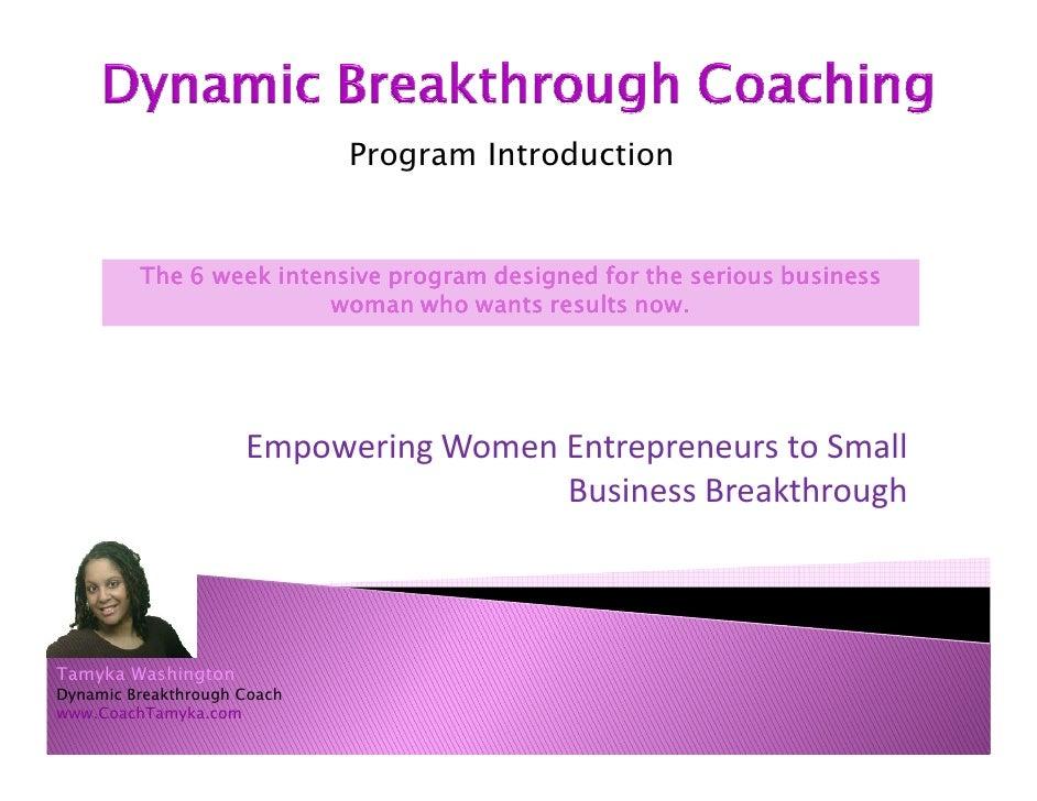 Dynamic Breakthrough Coaching for Women Entrepreneurs