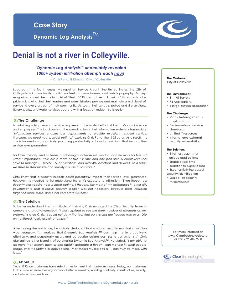 Dynamic Log Analysis™ Case Story City of Colleyville