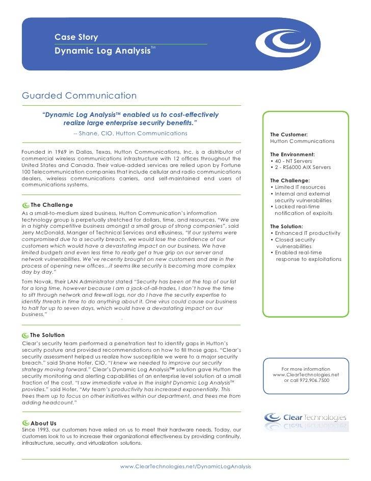 Dynamic Log Analysis™ Case Story Hutton Communications