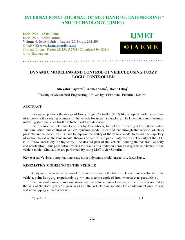 Dynamic modeling and control of vehicle using fuzzy logic controller 2