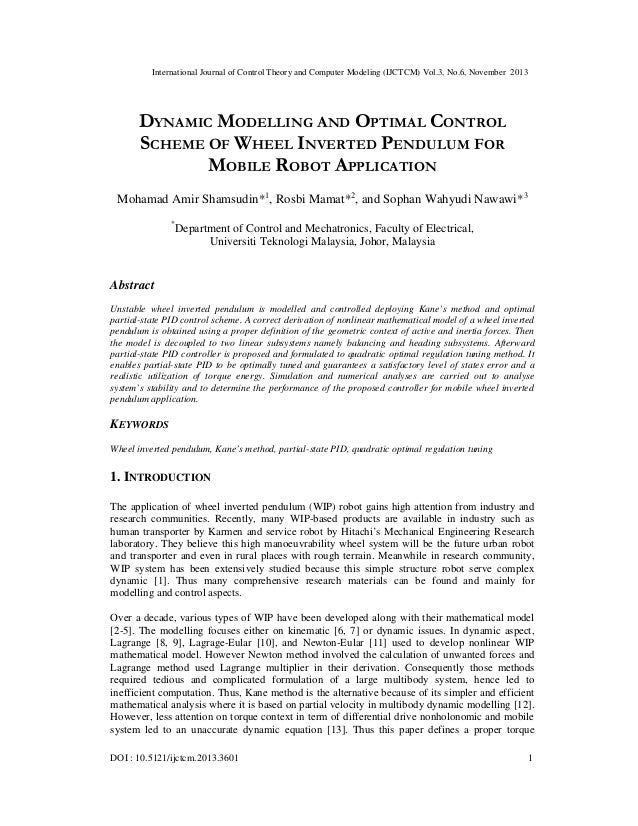 Dynamic modelling and optimal controlscheme of wheel inverted pendulum for mobile robot application