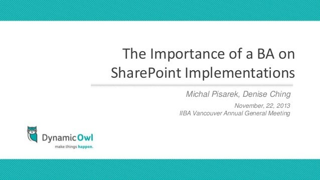 the importance of a business analyst on sharepoint projects