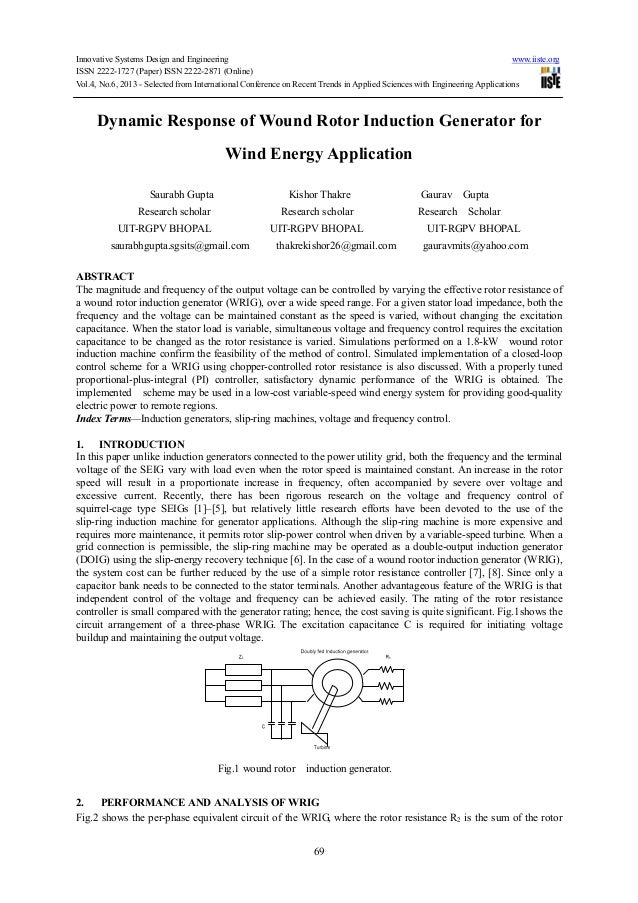 Dynamic response of wound rotor induction generator for wind energy application
