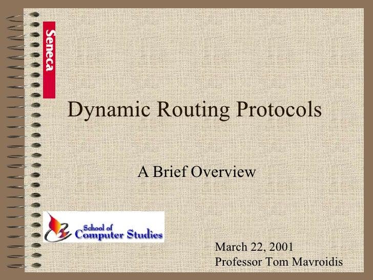 Dynamic Routing Protocols A Brief Overview March 22, 2001 Professor Tom Mavroidis