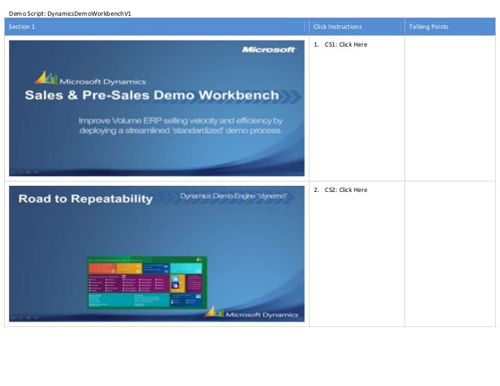 Demo Script: DynamicsDemoWorkbenchV1Section 1                              Click Instructions   Talking Points            ...