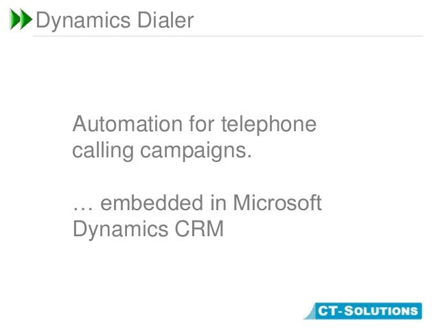 Dynamics DialerAutomation for telephonecalling campaigns.… embedded in MicrosoftDynamics CRM