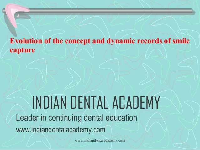 Evolution of the concept and dynamic records of smile capture  INDIAN DENTAL ACADEMY Leader in continuing dental education...