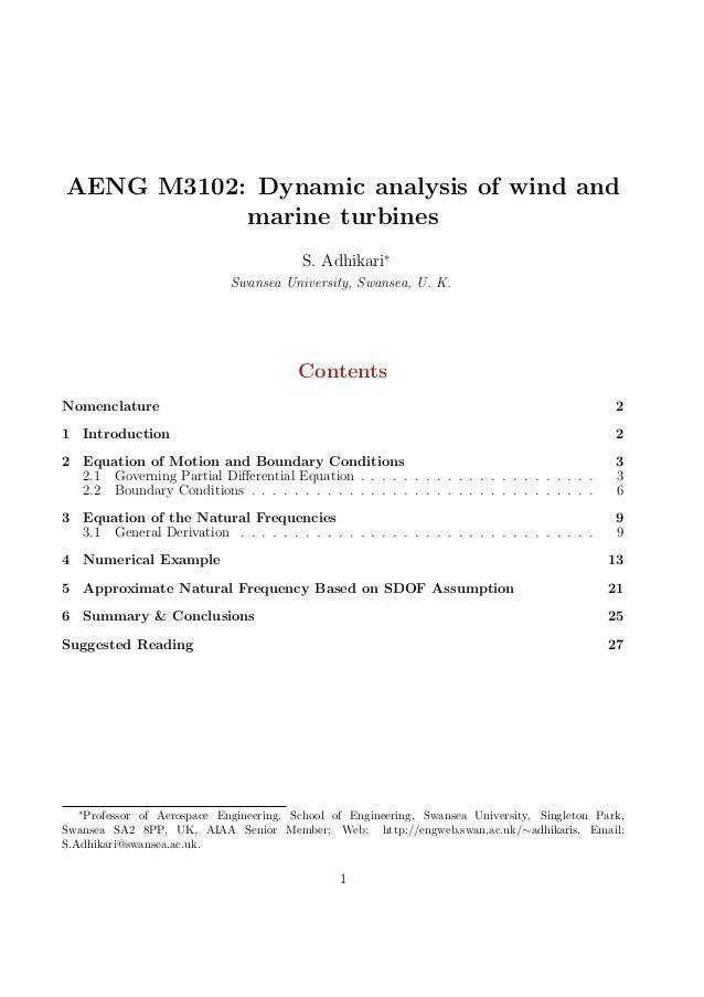 Dynamics of wind & marine turbines