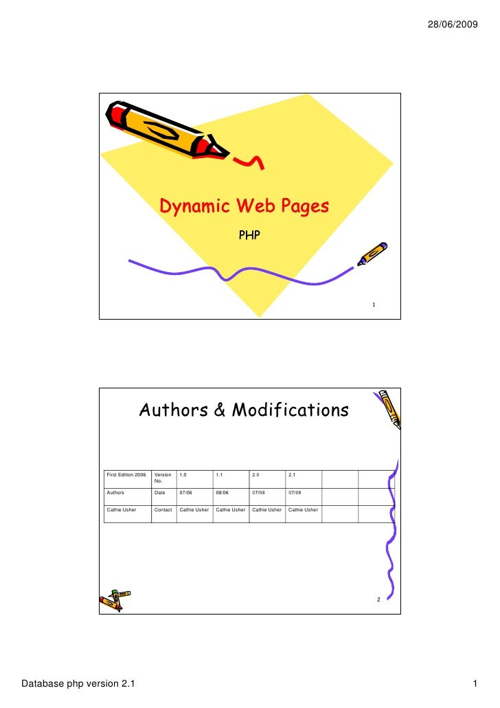 28/06/2009                                            Dynamic Web Pages                                                   ...