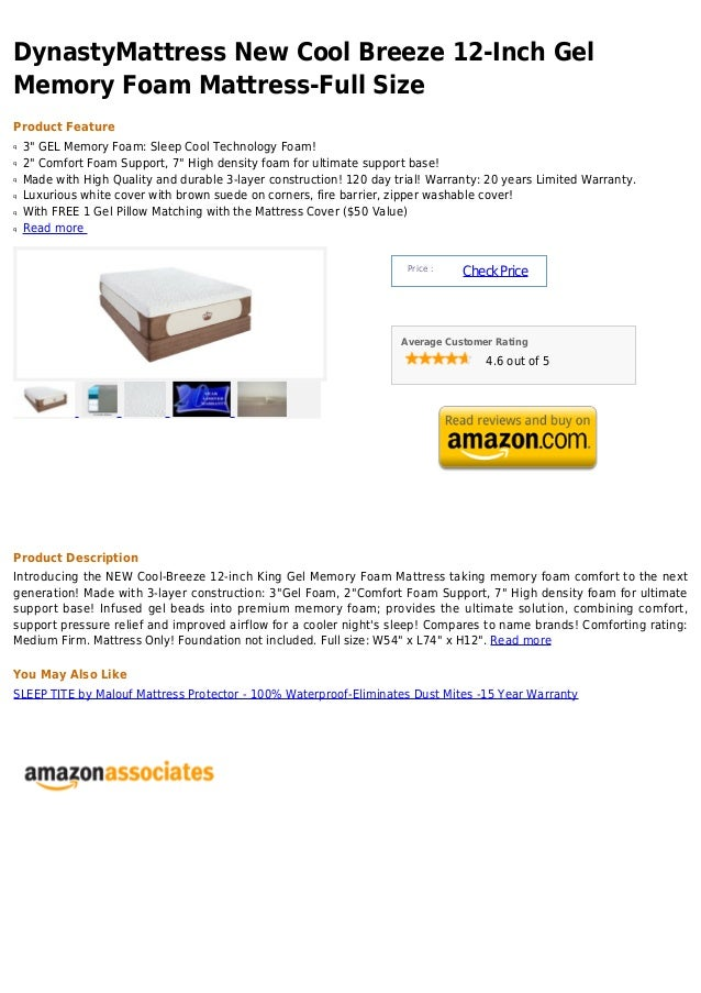 Dynasty mattress new cool breeze 12 inch gel memory foam