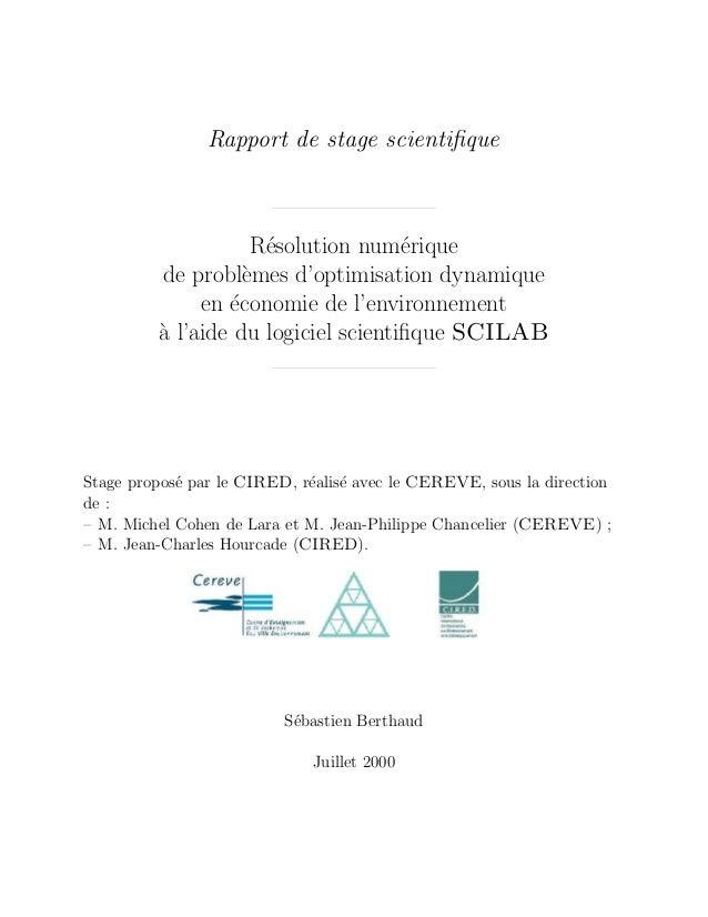 Rapport de stage scientifique                    R´solution num´rique                     e               e         de prob...